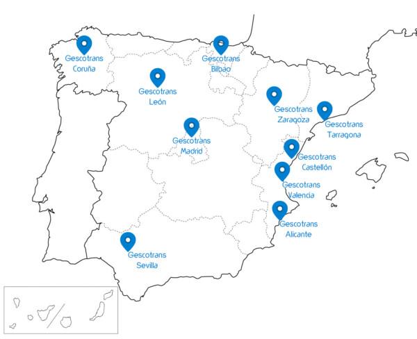 mapa sedes logísticas de transporte Gescotrans